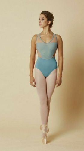 Mirella by Bloch Ladies Dance Tank Leotard Embroidered Mesh Front M3084 Topaz